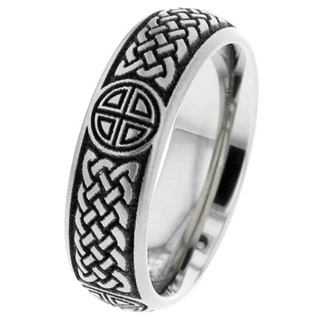 Lasered Celtic Titanium Ring