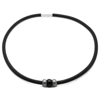 Rubber Necklace with Black & Grey Beads
