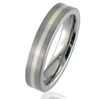 Flat Profile White Gold Titanium Wedding Ring