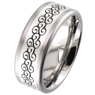 Silver Inlaid Titanium Wedding Ring