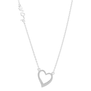 Silver Love & Heart Necklace
