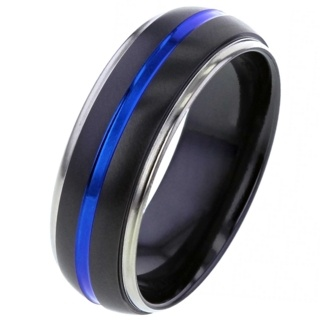 Two-tone Zirconium Ring with Electric Blue Groove