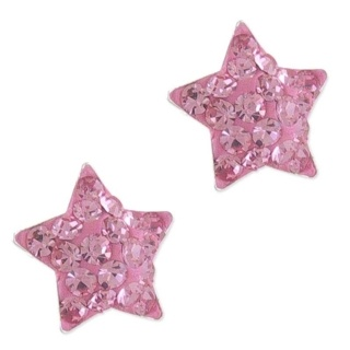 Silver Sparkly Pink Star Earrings