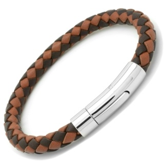 Two-tone Brown Woven Leather Bracelet