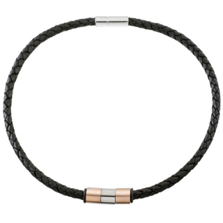 6mm Woven Black Leather Necklace with Rose Gold Coloured Titanium Beads