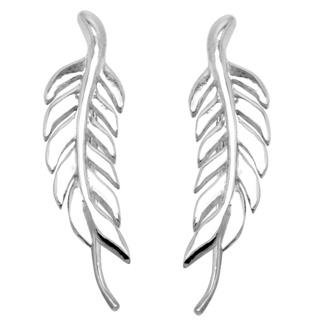 Polished 925 Silver Drop Leaf Earrings