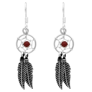 925 Silver & Red Coral Dreamcatcher Drop Earrings