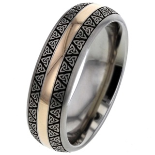 Celtic Titanium Ring Rose Gold Inlay