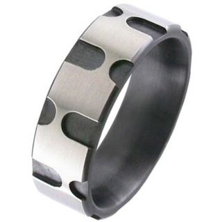 Two Tone Flat Profile Zirconium Ring