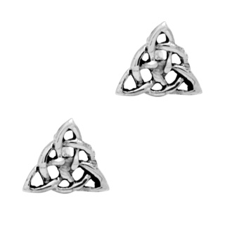 Small 925 Silver Trinity Knot Celtic Stud Earrings