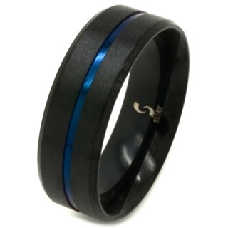 Black & Neon Blue Stainless Steel Ring