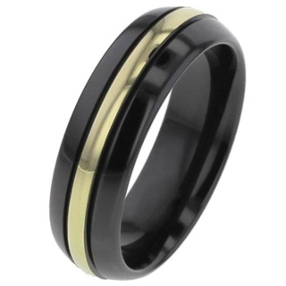 Domed Zirconium Ring with Yellow Gold Inlay
