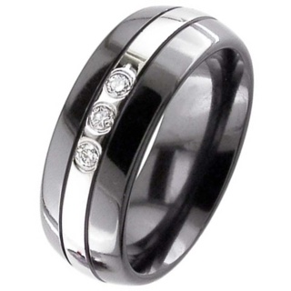 Dome Profile Black Diamond Zirconium Wedding Ring