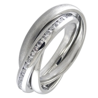 Interlocking Steel & Cubic Zirconia Crystal Ring
