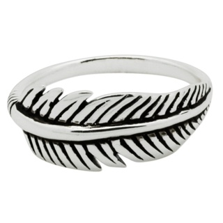 Silver Feather Midi Ring
