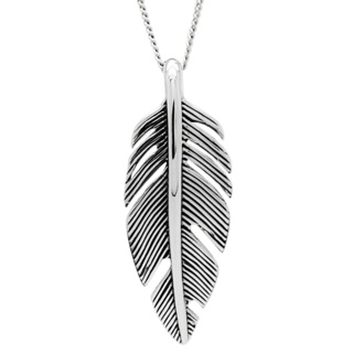 Oxidised Silver Feather Pendant