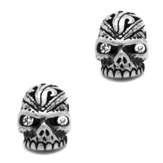 Elaborate Stainless Steel Crystal Skull Earrings