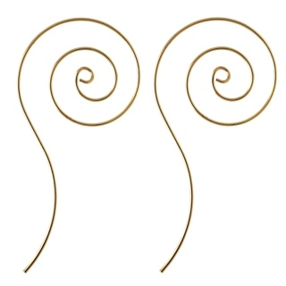 Rose Gold Plated Elongated Oval Spiral Earrings