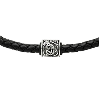 925 Silver Celtic Bead with a Black Woven leather Necklace