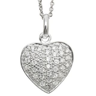 Silver Pave Cubic Zirconia Crystal Heart Necklace