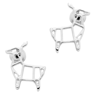 Silver Plated Deer Stud Earrings