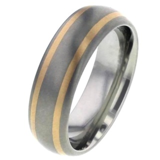 Domed Titanium Ring with Rose Gold Inlays