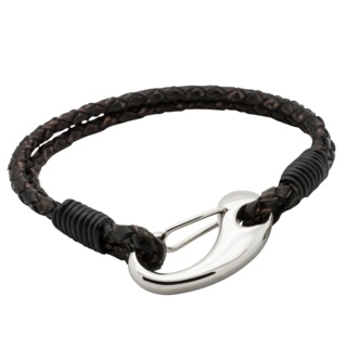 Two Tone Dark Brown Woven Leather Bracelet