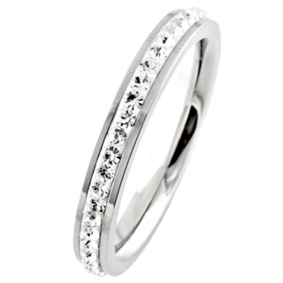 Steel Cubic Zirconia Crystal Polished Stacking Ring