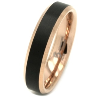Rose Gold with Black Tungsten Carbide Ring