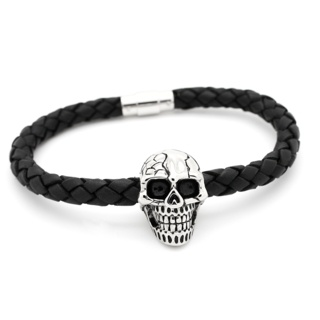 Woven Leather & Skull Bracelet