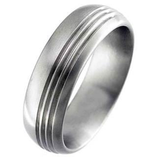 Satin Dome Profile Titanium Ring with three off centre grooves.
