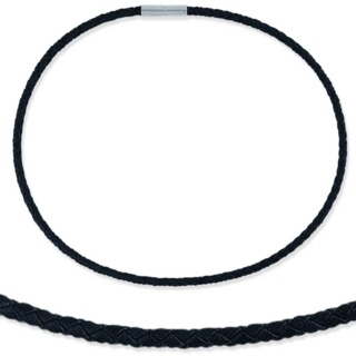 Woven 4mm Black Leather & Steel Necklace