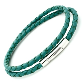 Teal Bolo Leather Double Wrap Bracelet