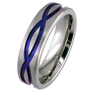 Flat Profile Zirconium Ring with Blue Infinity Wave