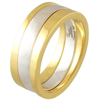 Praise Gold Titanium & Silver Ring