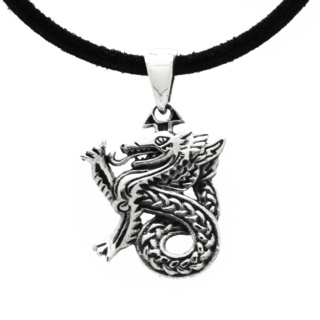 Silver 925 Celtic Dragon Leather Necklace