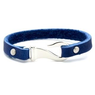 Blue Leather Fish Hook Clasp Bracelet