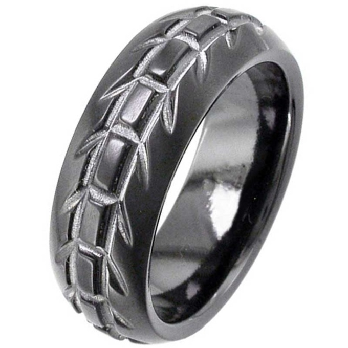 Dome Profile Black Zirconium Wedding Ring With Tyre Tread Design
