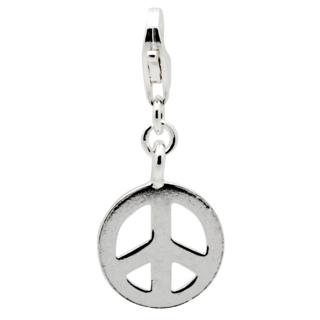 Silver Peace Symbol Clip on Charm