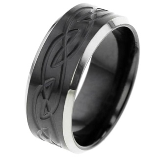 Zirconium Ring with Celtic Pattern