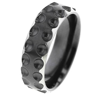 Dotted Detail Zirconium Ring with Bevelled Shoulders