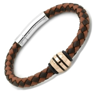 Two Tone Brown Woven Leather Bracelet Polished Rose Gold Titanium Bead
