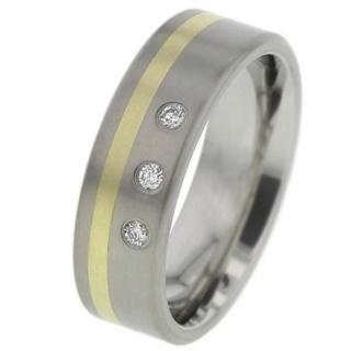 Diamond Set Titanium Wedding Ring with Inlaid Gold