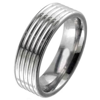 Flat profile high polished multi grooved titanium ring