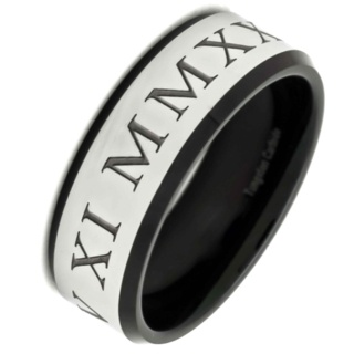 Personalised Roman Numeral Tungsten Carbide Ring