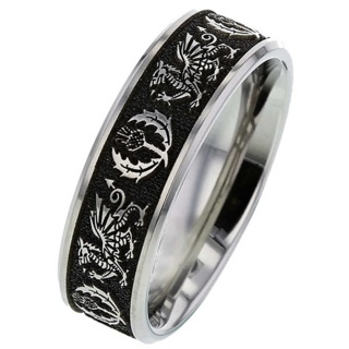 Welsh Dragon Titanium Ring