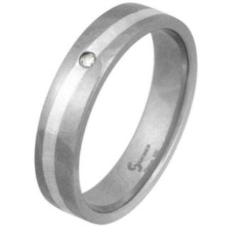 Swell Titanium & Silver Diamond Ring