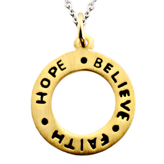 Gold Hope Believe Faith Charm Necklace