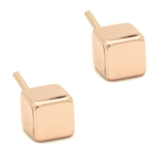 Mini Rose Gold Cube Earrings