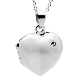 Silver Heart Crystal Locket